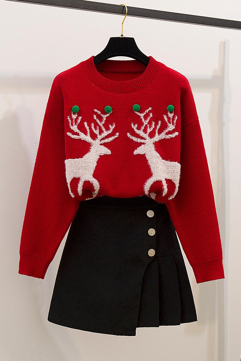 实拍红色圣诞毛衣女套头秋冬2019新款网红冬加厚宽松外穿两件套装