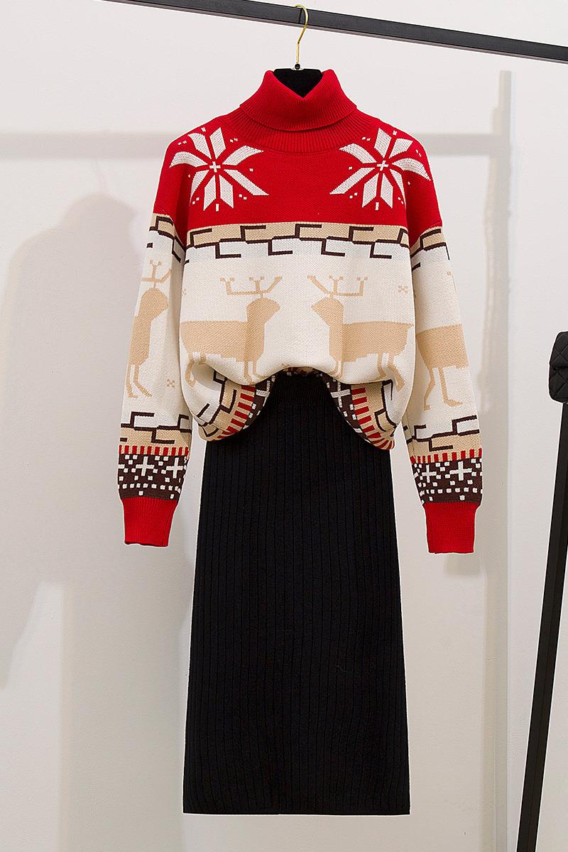 实拍小香风圣诞毛衣套装女秋冬2019新款网红矮个子洋气减龄两件套