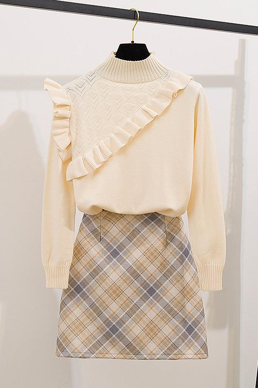 毛衣女2019新款秋冬季长袖甜美木耳边+格子半身裙针织套装