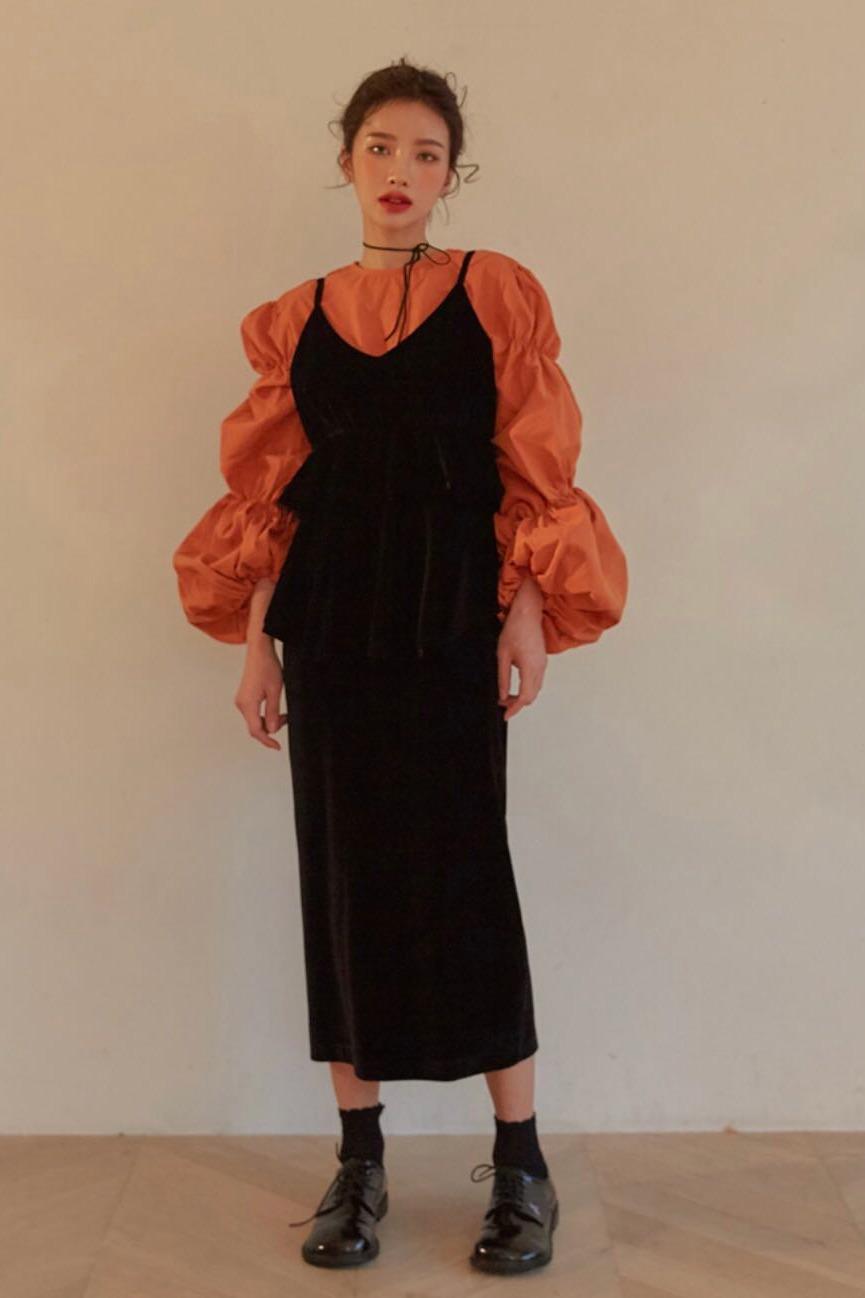 A1688 现货 泡泡灯笼袖方扣衬衫+丝绒v领吊带蛋糕裙背带直筒长裙