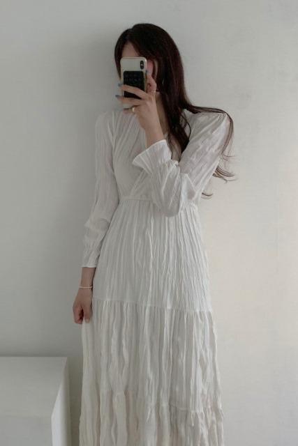 现货!韩国chic气质百搭V领长袖松紧腰皱褶连衣裙内搭长裙