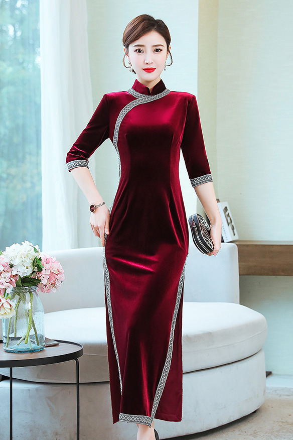 实拍金丝绒旗袍新款女中国风复古走秀旗袍改良连衣裙长款气质优雅