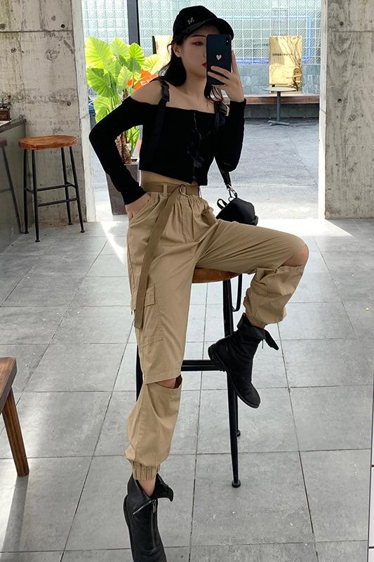 实拍 2020春夏新款工装裤女破洞哈伦裤萝卜裤运动束脚宽松休闲裤