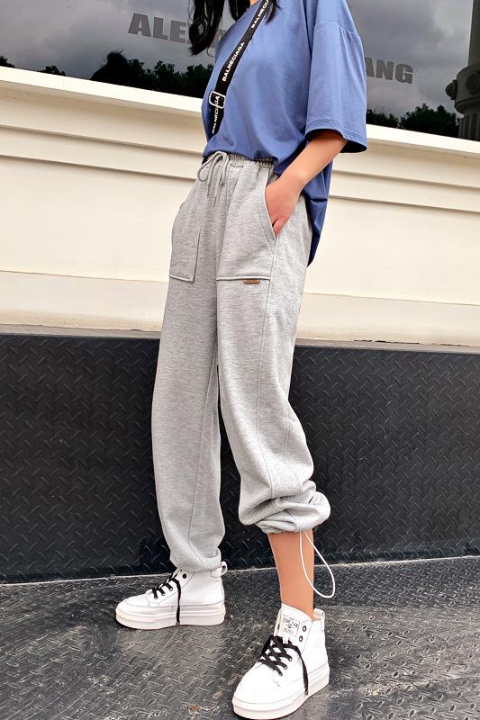 实拍 2020灰色运动裤女外穿显瘦百搭直筒宽松阔腿卫裤休闲束脚裤