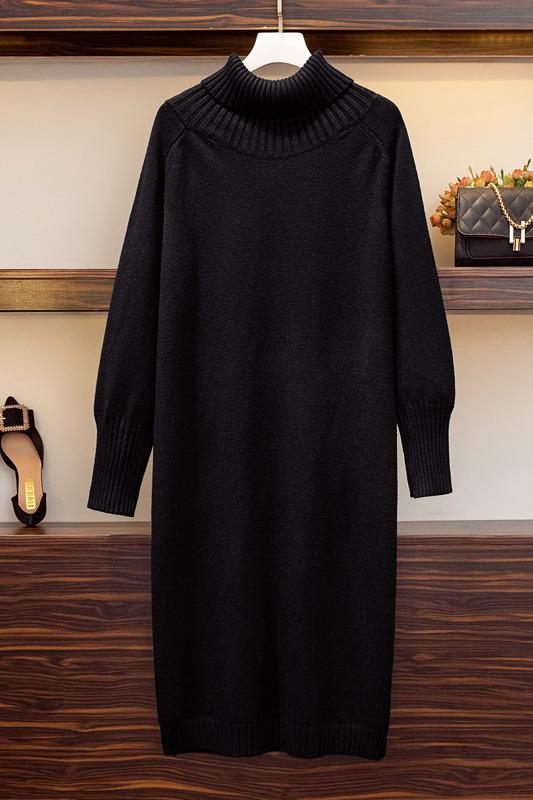 实拍~针织衫秋冬新款宽松慵懒风黑色套头高领毛衣裙过膝打底长款