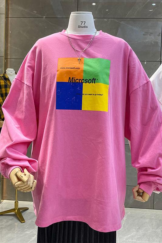 实拍#韩国东大门2020早春新款韩版宽松印花中长款磨毛T恤女上衣