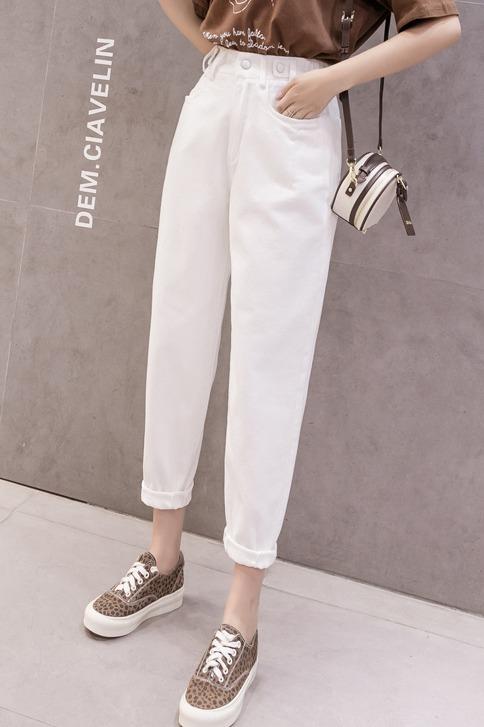 米白色宽松直筒牛仔裤女2020季新款老爹高腰显瘦阔腿裤子春实拍