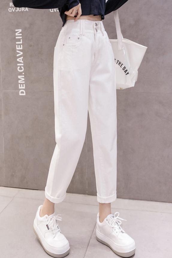 高腰牛仔裤女白色裤子春季米色老爹萝卜宽松显瘦显高九分直筒裤潮