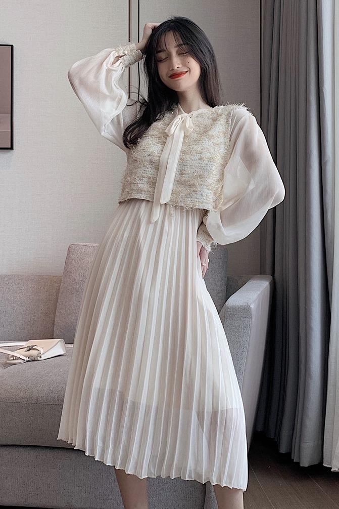 实拍 新款女装法式复古裙子气质名媛小香风马甲两件套雪纺连衣裙