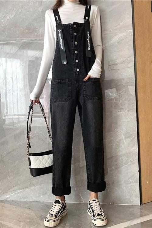 实拍2020春季新款牛仔背带裤女复古港风纽扣设计显廋网红灰色裤子
