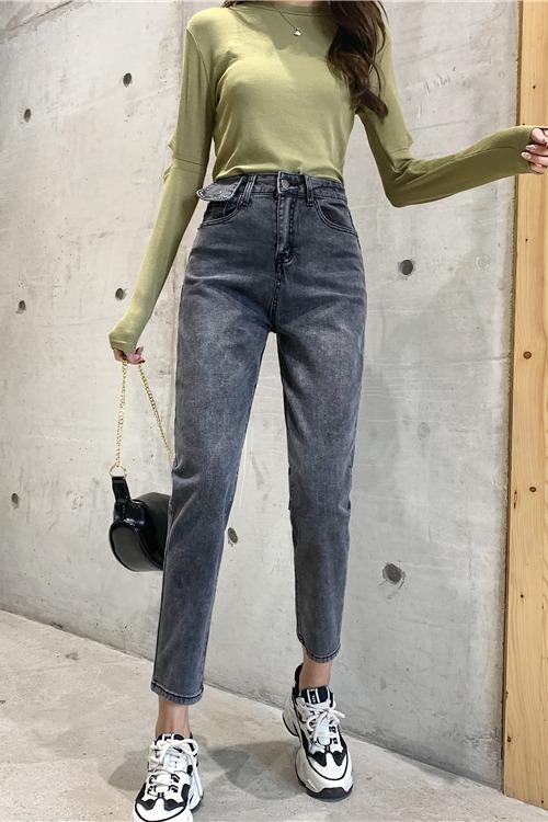 实拍2020年春季新款腰头设计韩版弹力高腰显瘦九分哈伦裤女