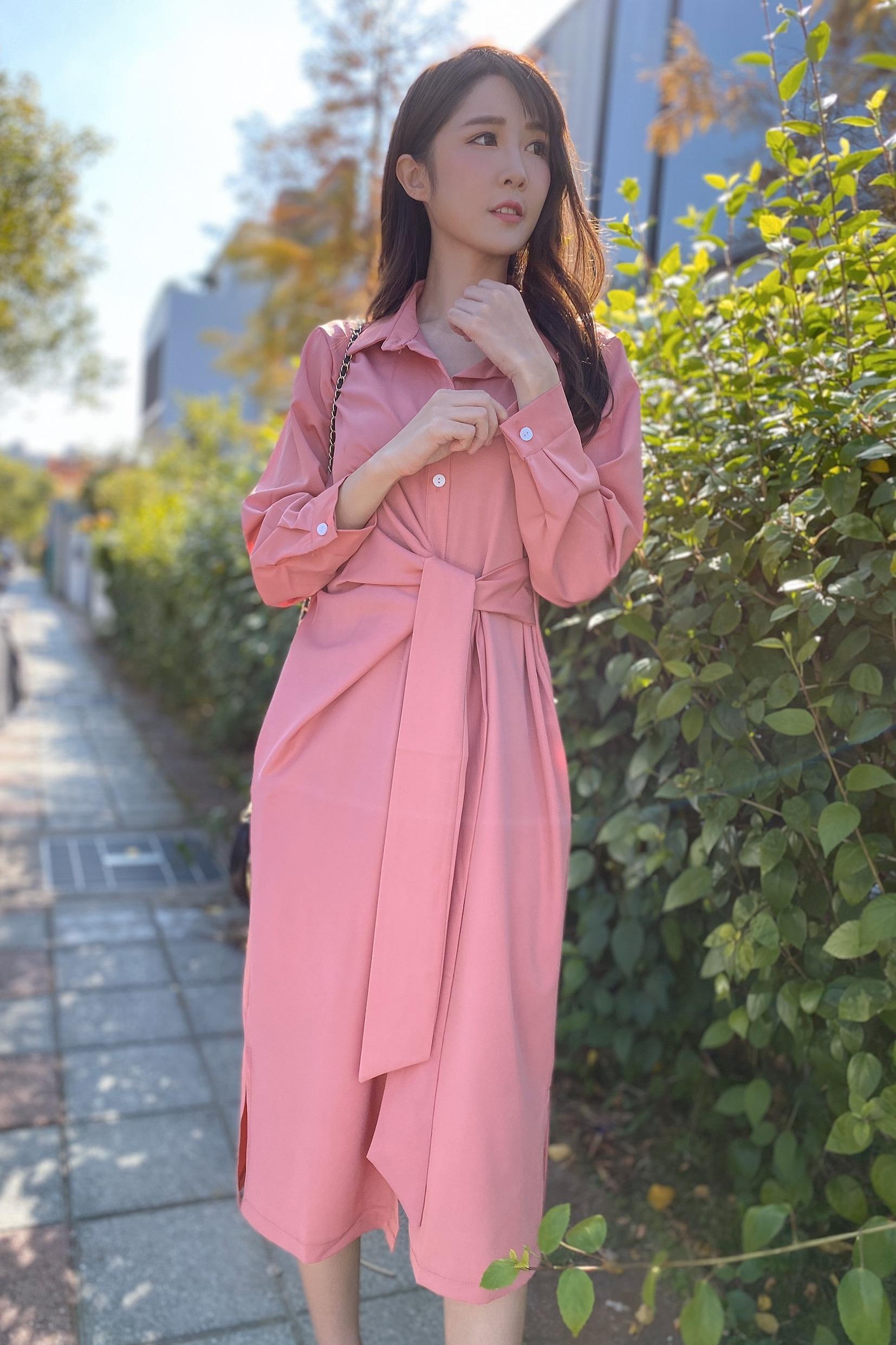 实拍 早春时尚系带韩版宽松系带很仙的西柚粉衬衫长裙连衣裙1011#