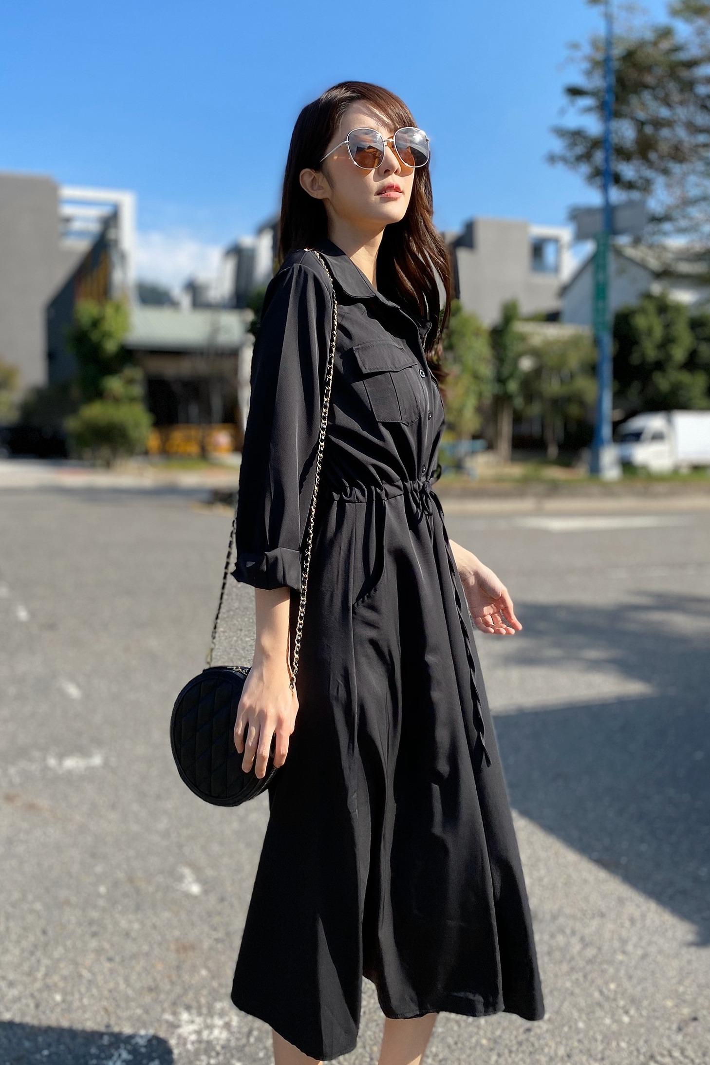 实拍 轻熟风法式复古桔梗山本气质裙法国小众过膝连衣裙女1015
