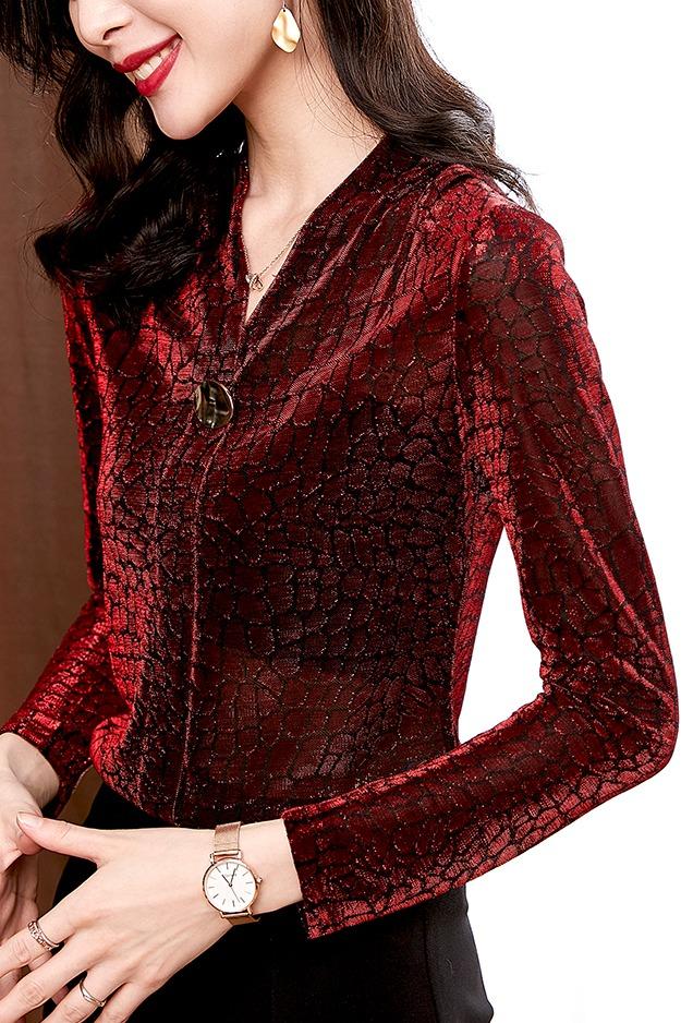 9968实拍豹纹针织打底衫女长袖2020春季新款上衣修身百搭V领T恤