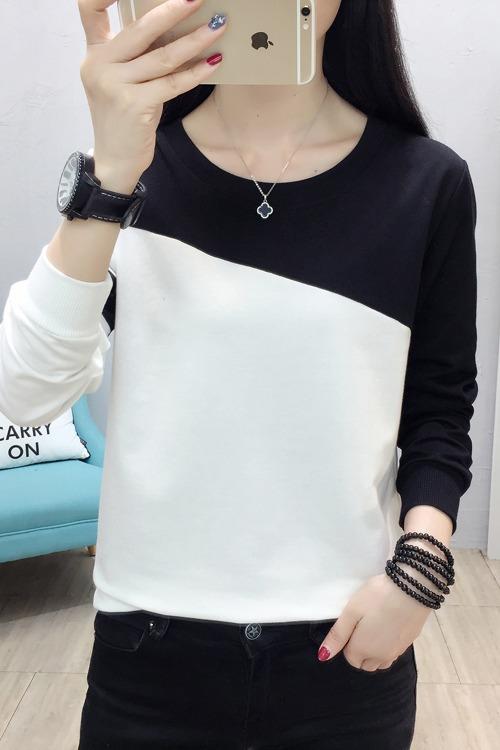 实拍8822#新款2020春季女装新品韩版长袖T恤大码卫衣时尚拼接上衣