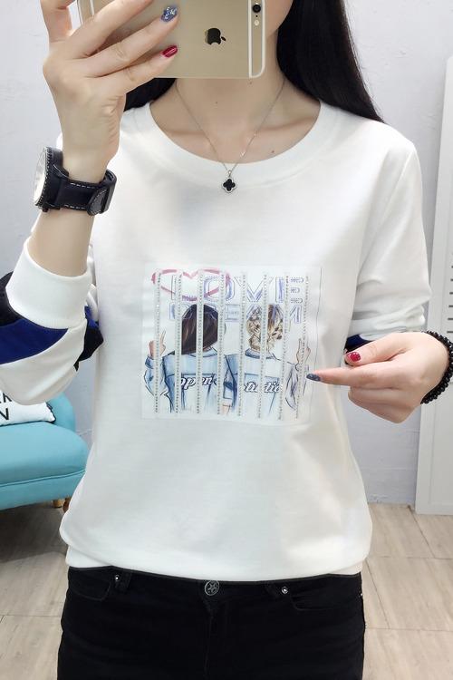 实拍8802# 新款2020春季女装长袖卫衣圆领大码T恤韩版时尚女上衣