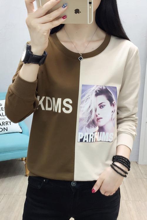 实拍8826# 2020春季长袖女装T恤韩版新款时尚拼接大码上衣潮卫衣