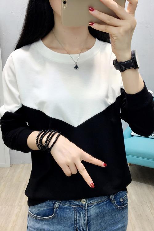 实拍 8675# 2020春季新款韩版女装长袖拼接修身显瘦宽松大码女T恤
