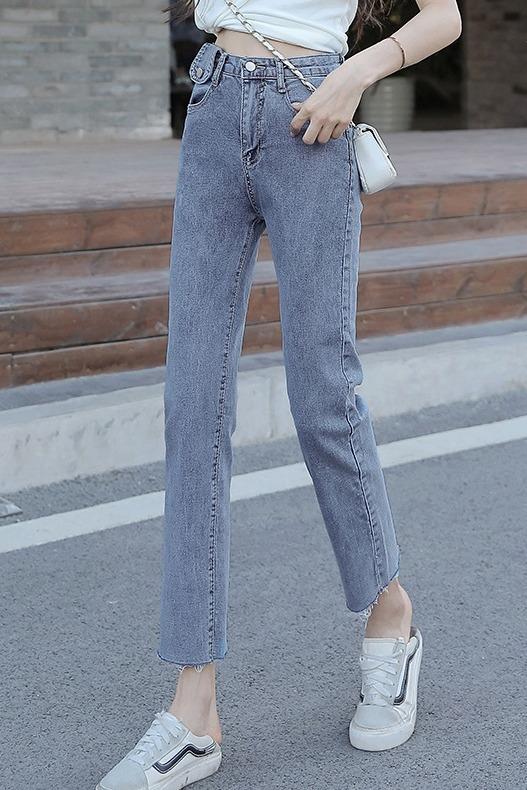 5520#实拍高腰牛仔裤女春季新款弹力直筒烟管裤修身显瘦九分裤子