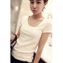 官方图白色短袖t恤女夏半袖简约修身体恤纯色内搭上衣