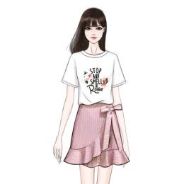 立体花字母纯棉短袖T恤套装裙荷叶边不规则半身裙裤裙时尚两件套