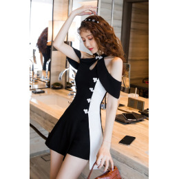 套装女2020新款中国风改良旗袍挂脖露肩连衣裙高腰短裤气质两件套