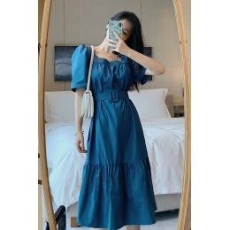实拍 夏季新款法式方领大摆型宽松显瘦收腰系带过膝泡泡袖连衣裙