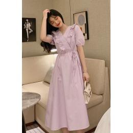 实拍 夏季新款韩版气质收腰显瘦V领荷叶边设计短袖系带长款连衣裙