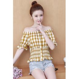 实拍夏季很仙仙气一字肩洋气上衣减龄韩版女士衬衫设计感小众