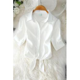 白色衬衣女2020夏新款韩版宽松蝴蝶结学院风短袖条纹衬衫学生上衣