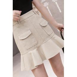 工装荷叶边包臀半身裙女夏季新款修身休闲鱼尾裙短裙+防走光短裤