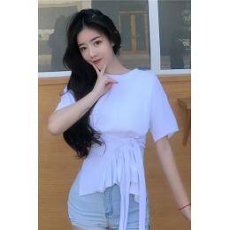 韩国东大门后背蝴蝶结系带小心机上衣女2020春夏新款简约露腰T恤