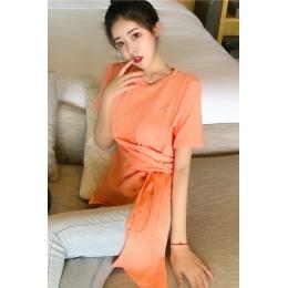 实拍韩国东大门刺绣字母短袖T恤女 20春款设计感纯色百搭打底上衣