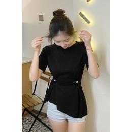 网红t恤女短袖潮2020新款修身心机收腰打底衫小性感露背斜边上衣