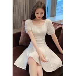 实拍2020夏季新款精品绣花刺绣镂空甜美短袖拉绳小个子连衣裙