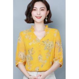 欧货雪纺衫女中袖碎花V领显瘦黄色2020春遮肚子上衣洋气小衫衬衫