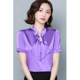 夏季仿真丝衬衫2020年新款洋气短袖上衣设计感小众衬衣装饰可拆卸