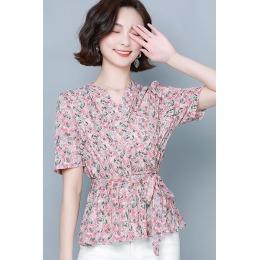 实拍2020新款雪纺衬衫女短袖夏季碎花韩版v领泡泡袖系带雪纺衫