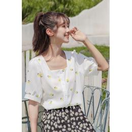 2020实拍 新款复古港味上衣夏衬衫女花朵短款韩版设计感小众