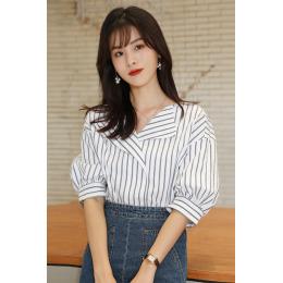 实拍灯笼袖衬衫女2020夏新款韩版设计感小众衬衣宽松显瘦上衣