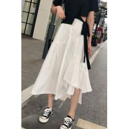 实拍白色不规则中长款高腰显瘦半身裙女夏蓬蓬裙a字伞裙半裙潮