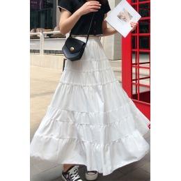 实拍白色中长款蛋糕裙2020夏季新款女A字长裙半身裙仙女雪纺裙子