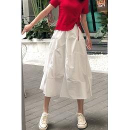实拍2020年不规则褶皱伞裙女春夏季高腰中长款小众A字桔梗半身裙