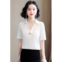 实拍衬衫女上衣2020年新款女V领白色雪纺女装衬衣设计感衬衫职业