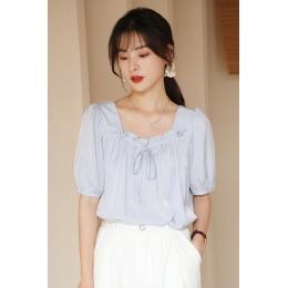 实拍夏季韩版新款短袖方领拼接木耳边法式甜美衬衫上衣打底衫T恤