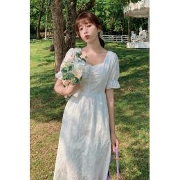实拍~小实拍~2020夏季开叉镂空白色温柔轻熟风气质连衣裙