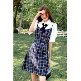 实拍~学院风2020新款蝴蝶结白衬衫格子连衣裙半身裙两件套装