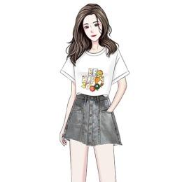 小清新T恤女个性图案上衣阔腿牛仔裤裙短款高腰小个子学生套装裙