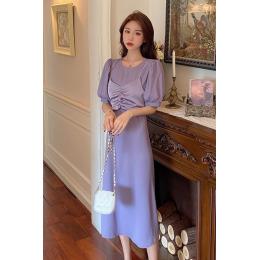 实拍 夏季吊带拼接假两件泡泡短袖韩版女人味修身显瘦雪纺连衣裙