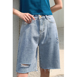 实拍 破洞牛仔裤女2020夏季新款韩版宽松百搭显瘦直筒五分阔腿裤